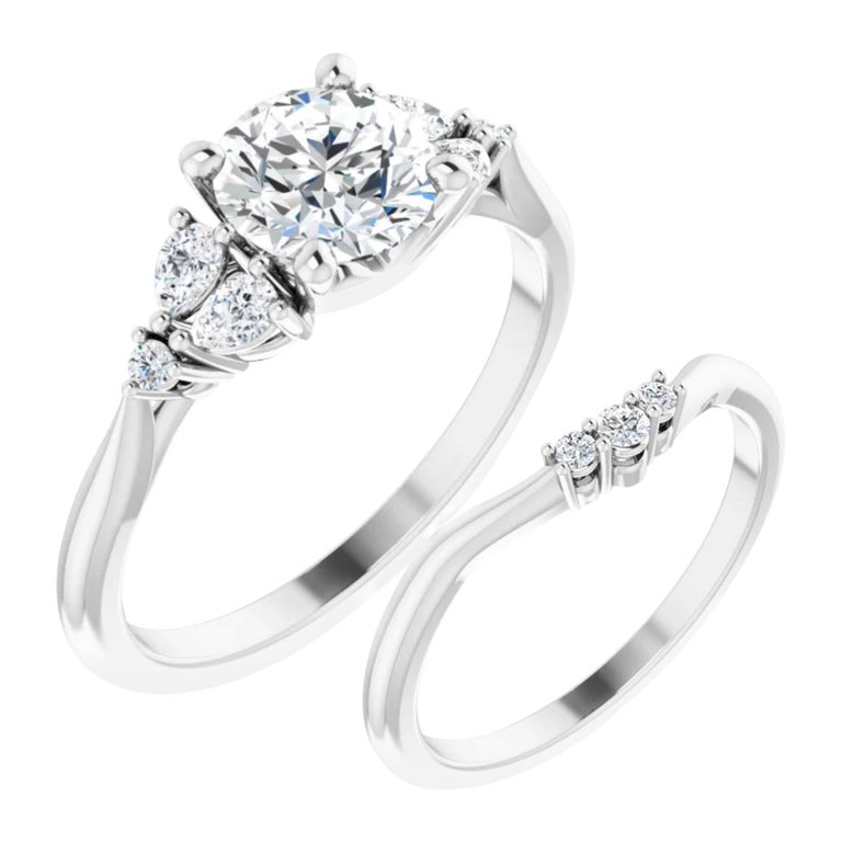 GIA Certified Pear Shape Diamond Round Bridal Engagement Ring Set 18K White Gold For Sale
