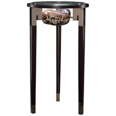 Agate, Wenge and Polished Bronze End Table with Glass Top
