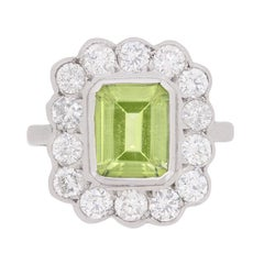 Classic Peridot and Diamond Halo Ring, circa 1980s