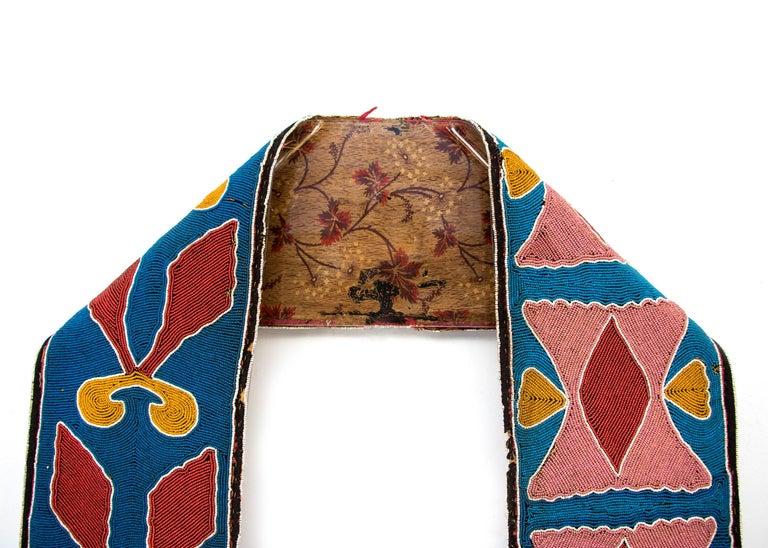 19th Century Classic Period Native American Beaded Bandolier Bag, Delaware, circa 1850 For Sale