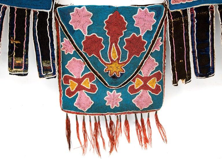 Fabric Classic Period Native American Beaded Bandolier Bag, Delaware, circa 1850 For Sale