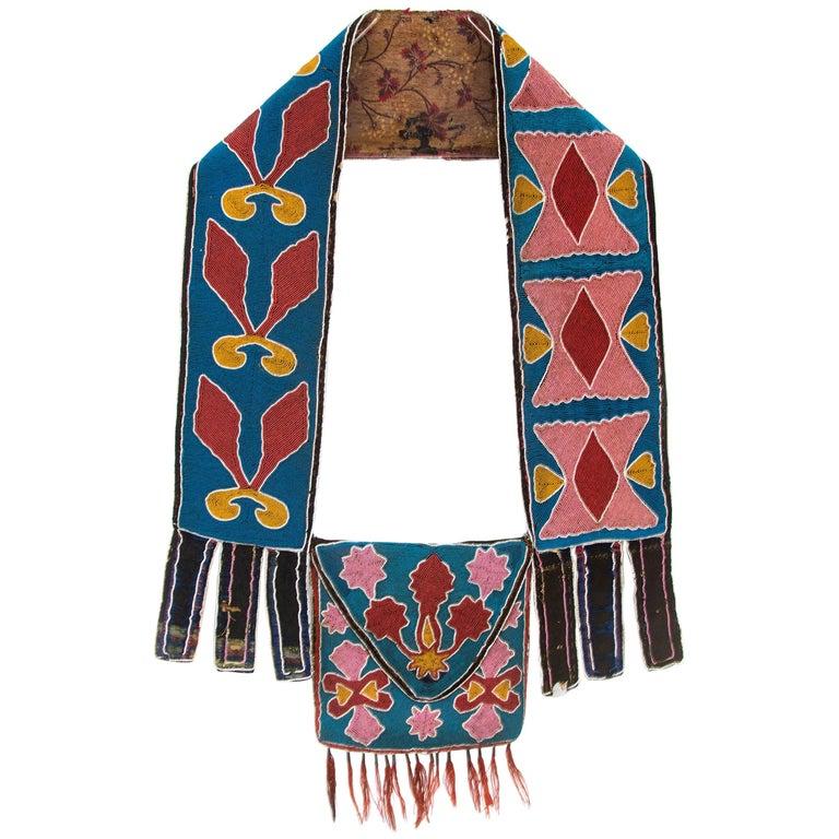 Classic Period Native American Beaded Bandolier Bag, Delaware, circa 1850 For Sale