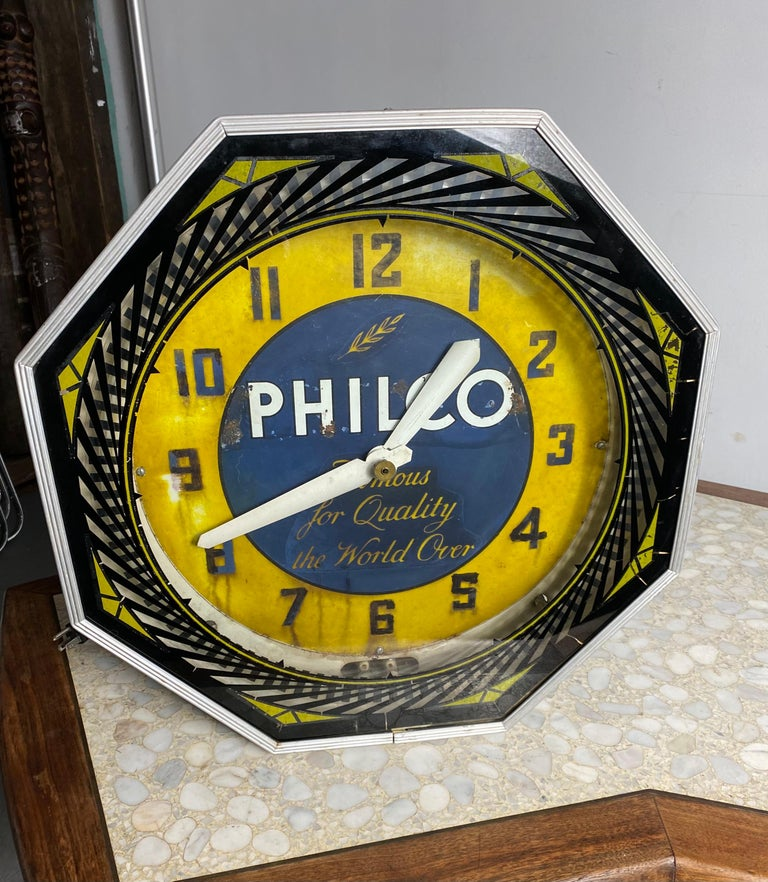 Classic Philco Neon Spinner Clock, Neon Products / Lima Ohio For Sale 3