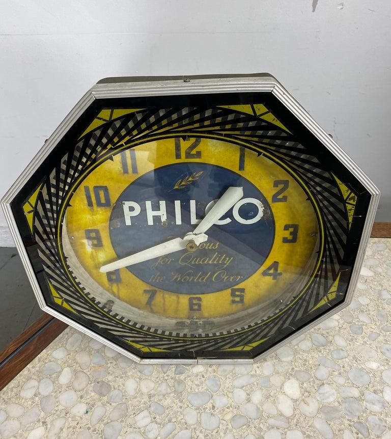 Art Deco Classic Philco Neon Spinner Clock, Neon Products / Lima Ohio For Sale