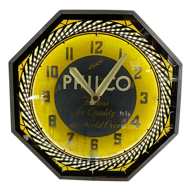 Classic Philco Neon Spinner Clock, Neon Products / Lima Ohio For Sale