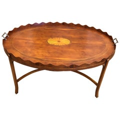 Classic Pie Crust Oval Mahogany Inlay Tray Top Coffee Table