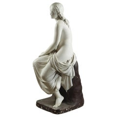 Classic Plaster Statue of a Seated Female, 20th Century