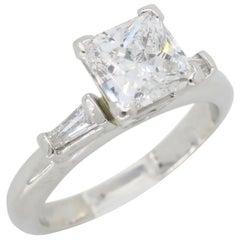 Classic Princess and Baguette Cut Diamond Engagement Ring in Platinum