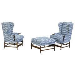 Classic Provincial Armchairs and Ottoman