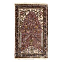 Classic Purple, Cream, and Blue Persian Kashkooli Carpet