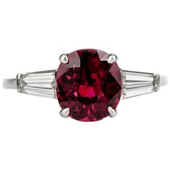 Classic Red Ruby Diamond Platinum Ring