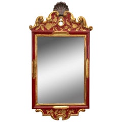 Classic Red Wall Mirror, 1940s
