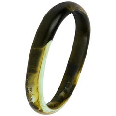 Classic Resin Wishbone Bangle in Malachite