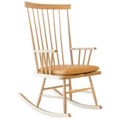 Classic Rocking Chair with leather cushion in Ash by Mel Smilow