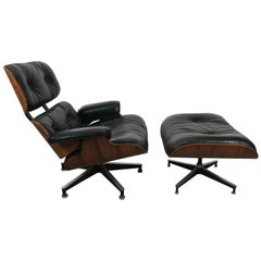Classic Rosewood and Leather Eames Lounge Chair and Ottoman Herman Miller