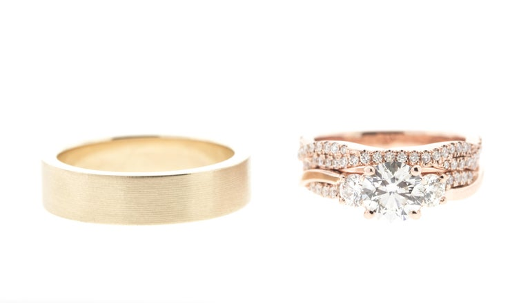 Art Deco Classic Round Diamond Rose Gold Ring 'GIA' with Matching Flushfit Band For Sale