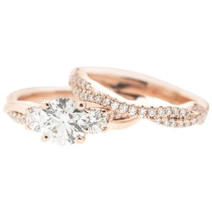 Classic Round Diamond Rose Gold Ring 'GIA' with Matching Flushfit Band