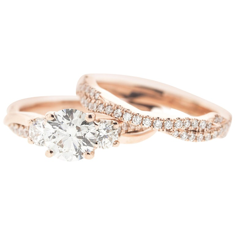 1057e654e087c8 Classic Round Diamond Rose Gold Ring 'GIA' with Matching Flushfit Band ...