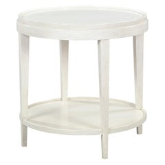 Classic Round End Table, Distressed White