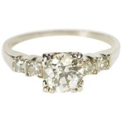 Klassischer Runder Europäischer Schliff Diamant-Verlobungsring