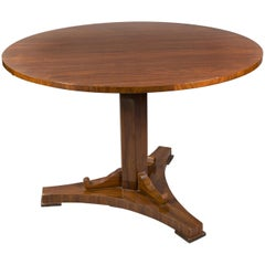 Classic Round Folding Table in Biedermeier Style, Mahogany Wood