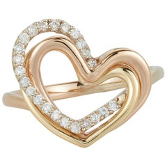 Classic Round White Diamond Heart Fashion Ring 18k Tri Color Rose Yellow Gold