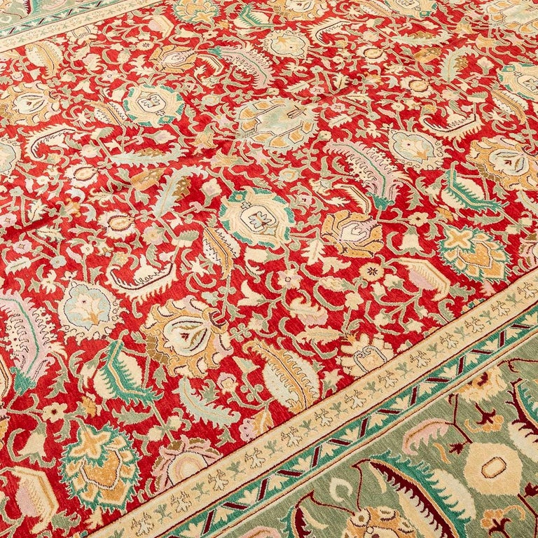 Deep Burgundy Indian Agra Rug For Sale At 1stdibs: Classic Rug, Agra Design Of Palms And Interlaced Flowers