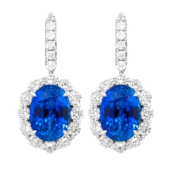 Classic Sapphire Diamond Earring with GIA Certified Violetish Blue Sapphires