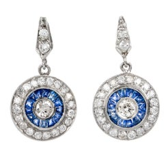 Classic Sapphire Diamond Platinum Drop Earrings