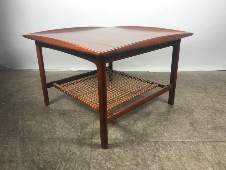 Scandinavian Modern Classic Scandinavian Teak and Cane Occasional Table by Folke Ohlsson, Sweden For Sale