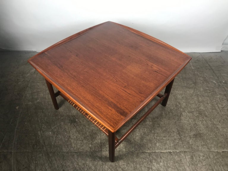 Swedish Classic Scandinavian Teak and Cane Occasional Table by Folke Ohlsson, Sweden For Sale
