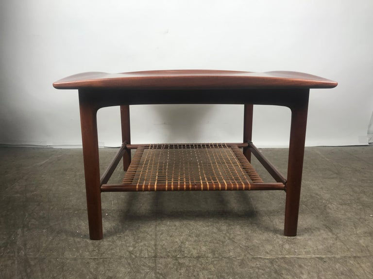 20th Century Classic Scandinavian Teak and Cane Occasional Table by Folke Ohlsson, Sweden For Sale