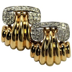 Classic Scroll Top Yellow Gold and Diamond Clip-On Earrings