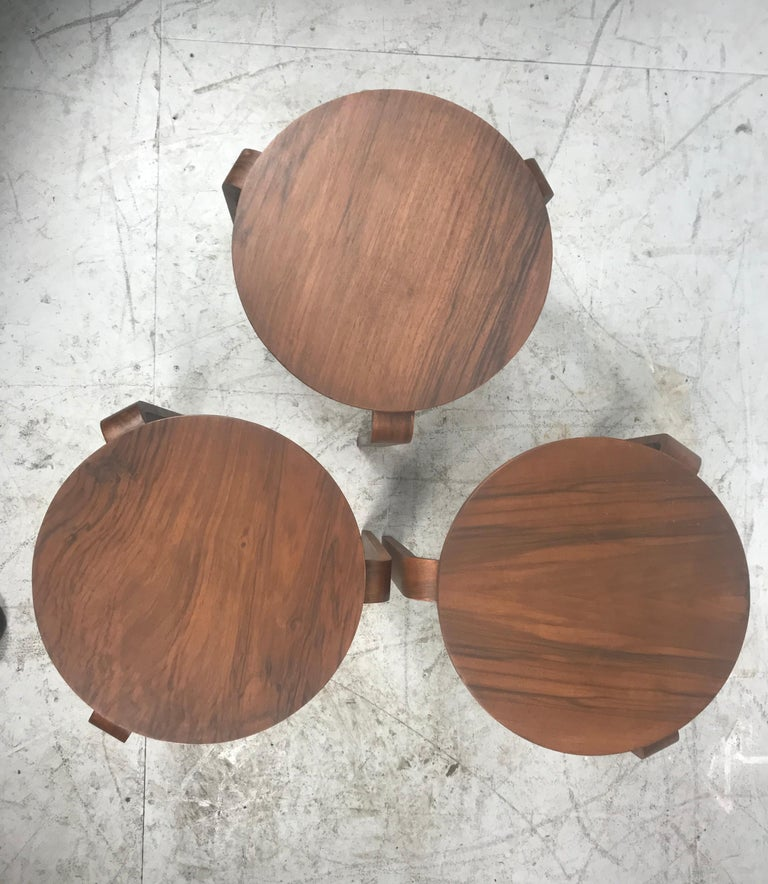 Classic Set of 3 Walnut Stacking Stools Manufactured by Thonet after Alvar Aalto For Sale 4