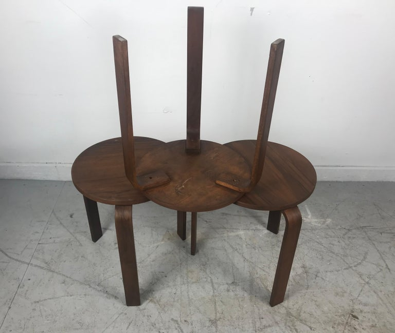 Classic Set of 3 Walnut Stacking Stools Manufactured by Thonet after Alvar Aalto For Sale 3