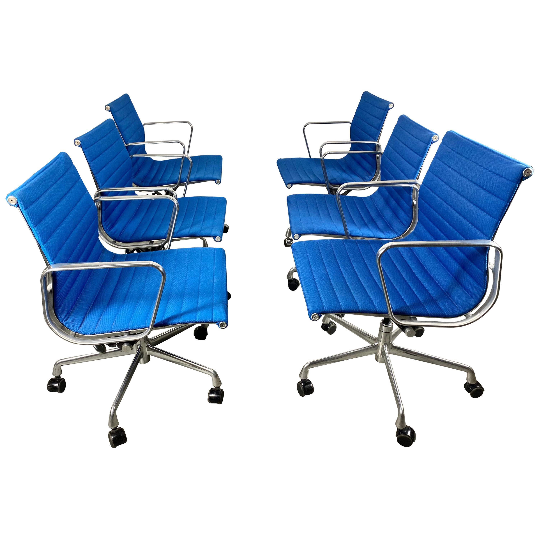 Classic 6 Aluminum Group Chairs, Charles Eames / Herman Miller Tilt, Swivel, Set