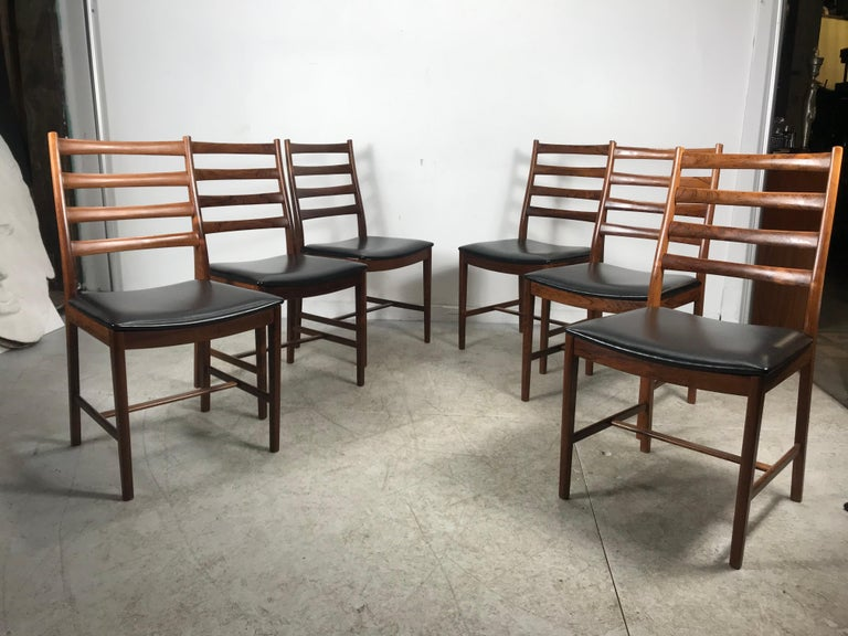 Classic Set of 6 Rosewood Ladder Back Dining Chair by Westnofa, Norway For Sale 3