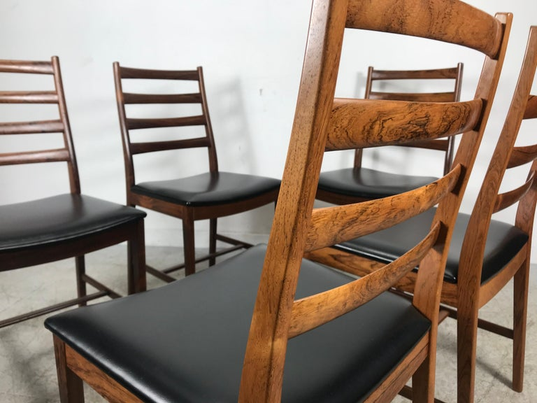 Mid-20th Century Classic Set of 6 Rosewood Ladder Back Dining Chair by Westnofa, Norway For Sale