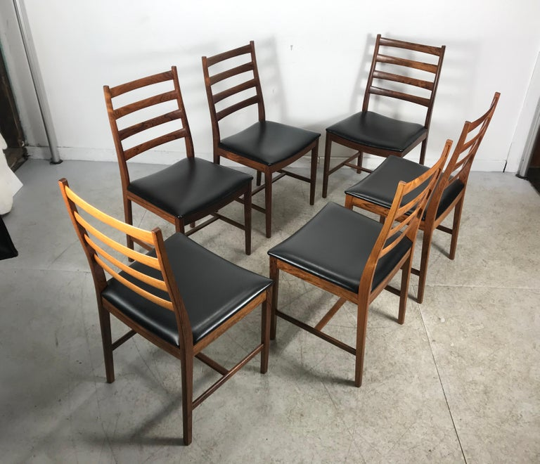 Classic Set of 6 Rosewood Ladder Back Dining Chair by Westnofa, Norway For Sale 1