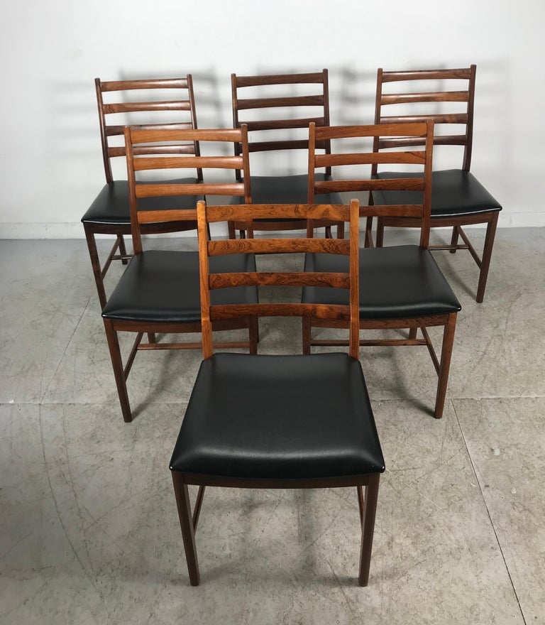 Classic Set of 6 Rosewood Ladder Back Dining Chair by Westnofa, Norway For Sale 2