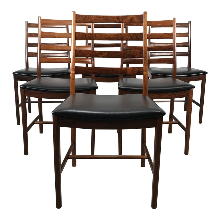 Classic Set of 6 Rosewood Ladder Back Dining Chair by Westnofa, Norway For Sale