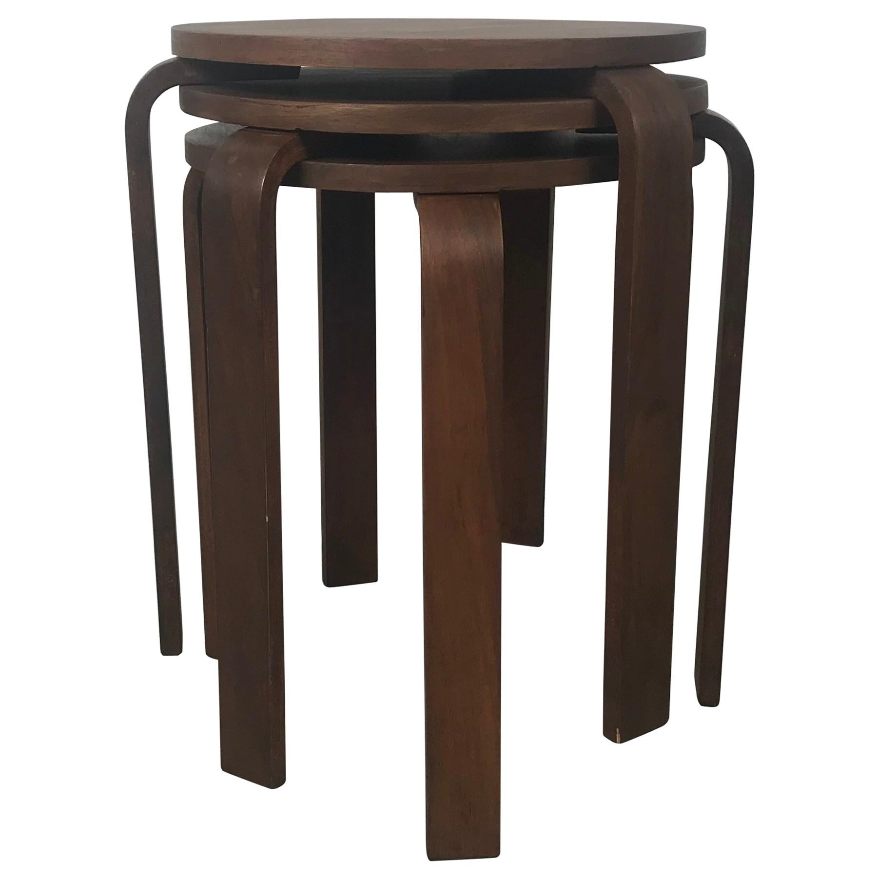 Classic Set of 3 Walnut Stacking Stools Manufactured by Thonet after Alvar Aalto