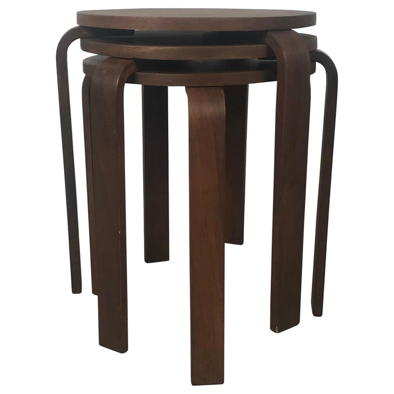 Classic Set of 3 Walnut Stacking Stools Manufactured by Thonet after Alvar Aalto For Sale