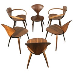 Classic Set of 6 Dining Chairs by Norman Cherner for Plycraft, Pretzel Captain