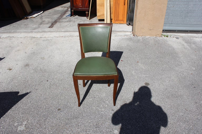 Classic Set of 6 French Art Deco Solid Mahogany Dining Chairs, circa 1940s 7