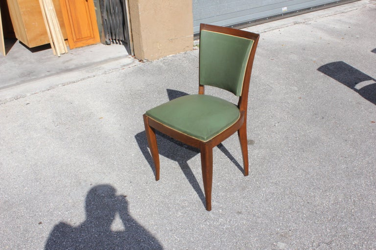 Classic Set of 6 French Art Deco Solid Mahogany Dining Chairs, circa 1940s 9