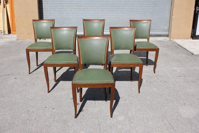 Classic set of six French Art Deco dining chairs solid Mahogany, the chair frames are in very good condition. (The Reupholstery is vinyl recommended to be change for all 6 dining chairs, but the vinyl is in correct condition original) the color of