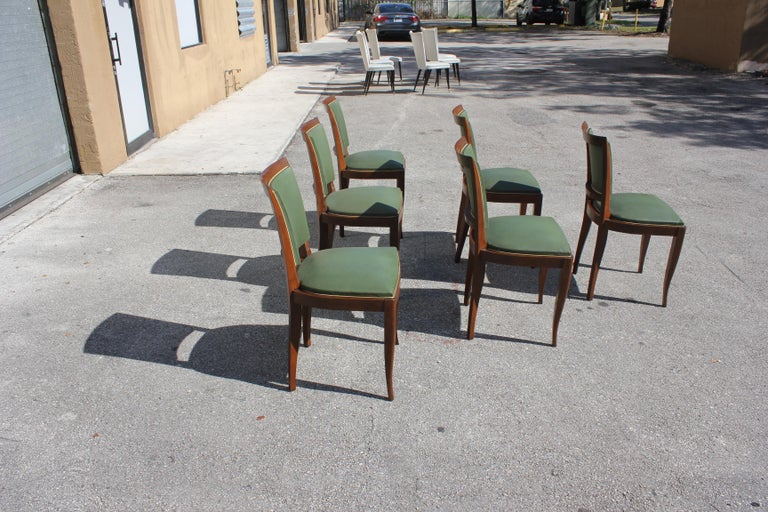 Classic Set of 6 French Art Deco Solid Mahogany Dining Chairs, circa 1940s 1