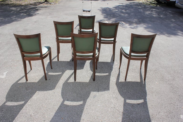 Classic Set of 6 French Art Deco Solid Mahogany Dining Chairs, circa 1940s 2