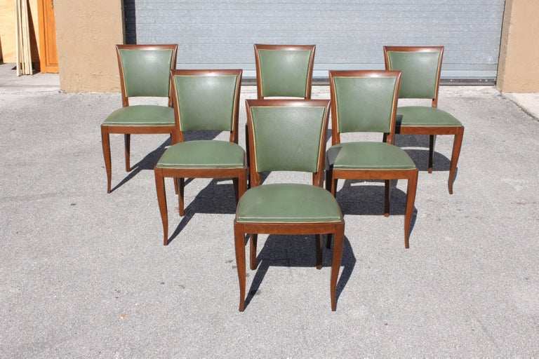 Classic Set of 6 French Art Deco Solid Mahogany Dining Chairs, circa 1940s 3